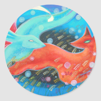 Leaping Fox with Hare. Classic Round Sticker