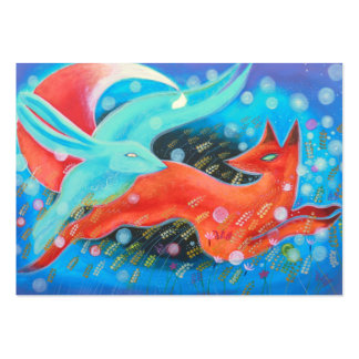Leaping Fox with Hare. Large Business Card