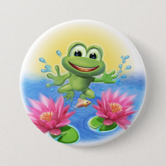 Leaping frog birthday party badge pinback button