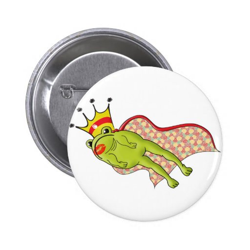 Leaping Frog Prince Color Pinback Buttons