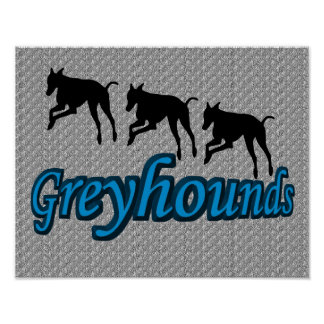Leaping Greyhound Silhouettes Poster