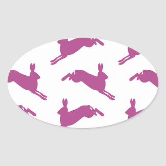 Leaping Hares Purple Oval Stickers