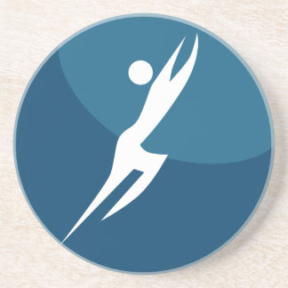 Leaping Hero Stick Figure Action Pose Blue Icon Coasters