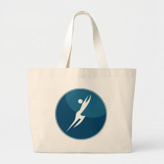 Leaping Hero Stick Figure Action Pose Blue Icon Large Tote Bag