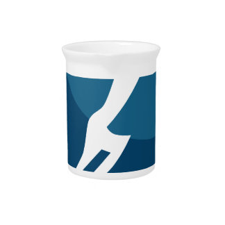 Leaping Hero Stick Figure Action Pose Blue Icon Beverage Pitchers