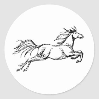 Leaping Horse Classic Round Sticker