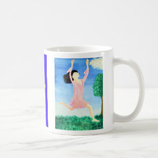 Leaping Lady in Between Heaven and Earth Classic White Coffee Mug