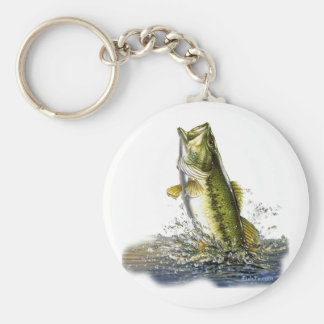Leaping largemouth bass basic round button keychain