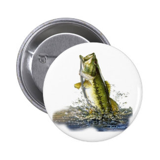 Leaping largemouth bass 2 inch round button