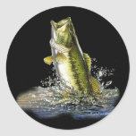 Leaping largemouth bass classic round sticker