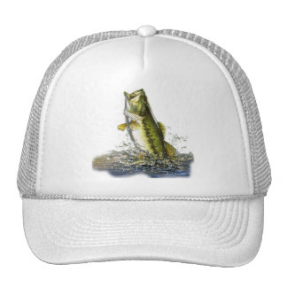 Leaping largemouth bass trucker hat