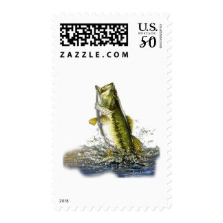 Leaping largemouth bass postage