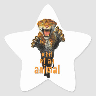 Leaping leopard - a bit of an animal star sticker