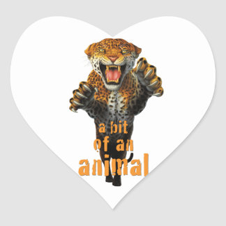 Leaping leopard - a bit of an animal heart sticker