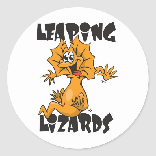 leaping lizards classic round sticker