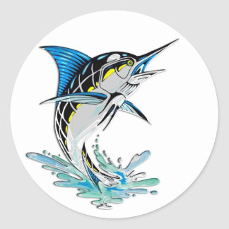 Leaping Marlin Classic Round Sticker