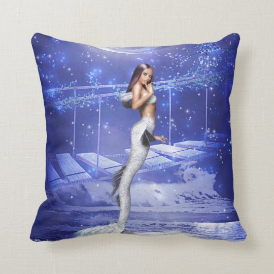 Leaping Mermaid Throw Pillow