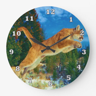 Leaping Mountain Lion Clock (Cougar)
