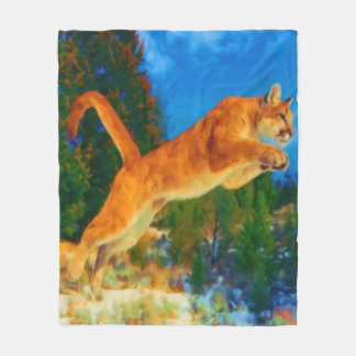 Leaping Mountain Lion Fleece Blanket (Cougar)