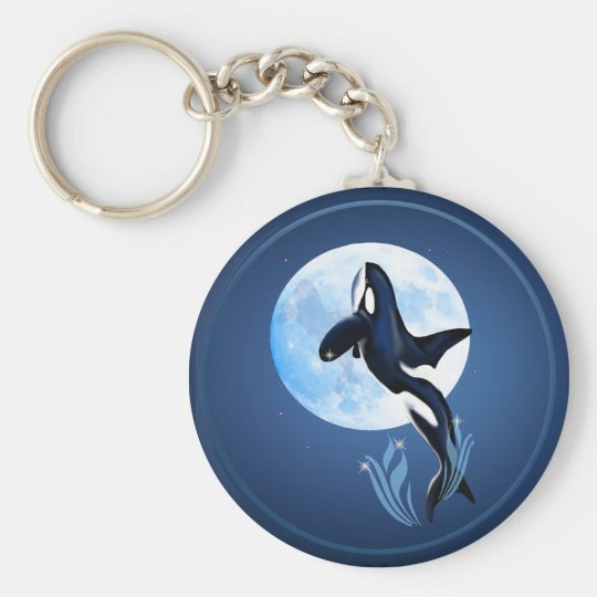 Leaping Orca and Full Moon Keychain