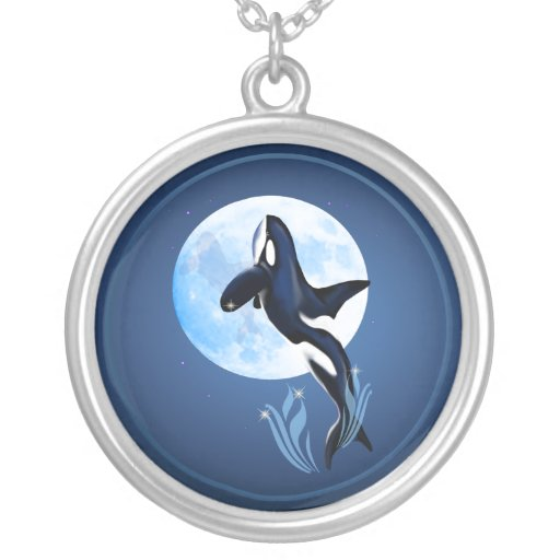Leaping Orca and Full Moon Necklace