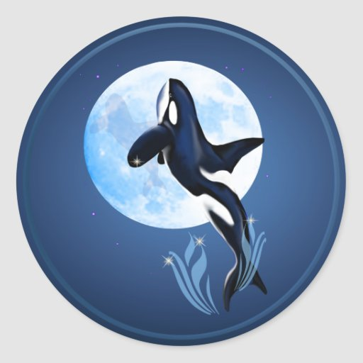 Leaping Orca and Full Moon Sticker