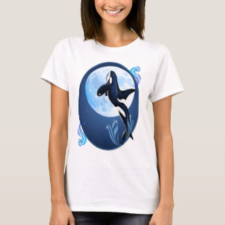Leaping Orca and Moon Oval Shirt