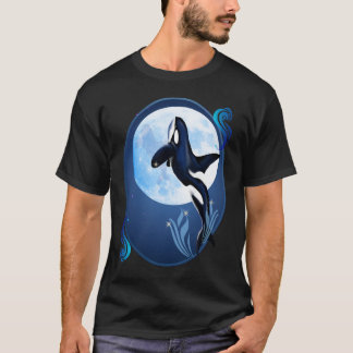 Leaping Orca and Moon Oval Shirts
