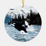 Leaping Orca Ceramic Ornament
