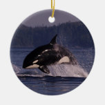 Leaping Orca Double-Sided Ceramic Round Christmas Ornament