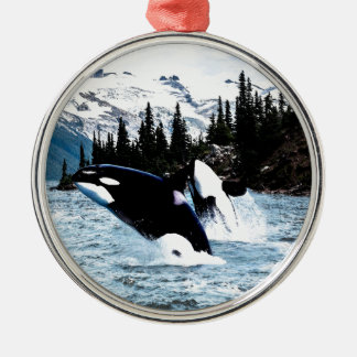 Leaping Orca Round Metal Christmas Ornament