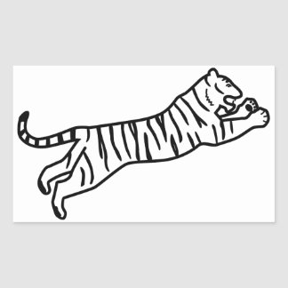 Leaping/Pouncing/Attacking Tiger Line Art Rectangular Sticker