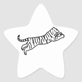 Leaping/Pouncing/Attacking Tiger Line Art Star Sticker