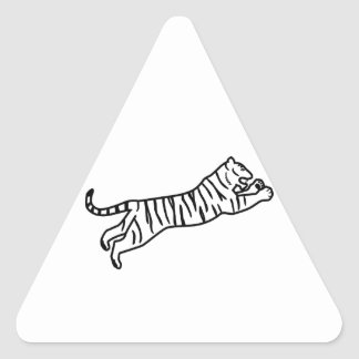 Leaping/Pouncing/Attacking Tiger Line Art Triangle Sticker