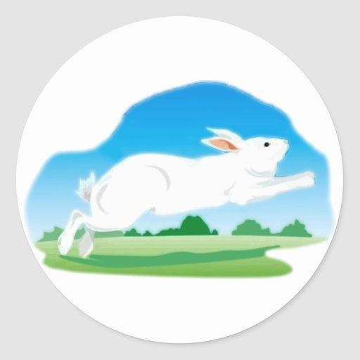 Leaping Rabbit in the Field Round Sticker
