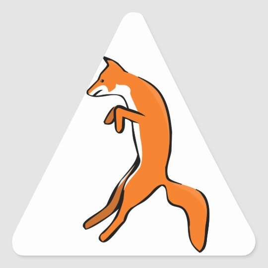 Leaping Red Fox Triangle Sticker