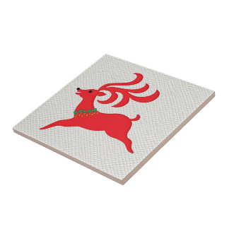 Leaping Red Reindeer Silhouette Small Square Tile