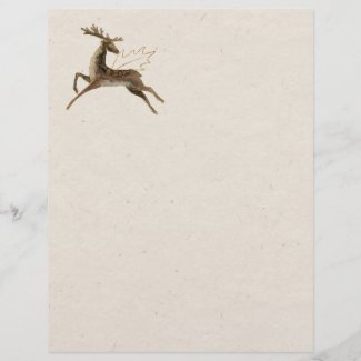Leaping Reindeer and Golden Holly Letterhead