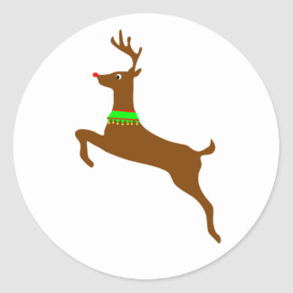 Leaping Rudolph The Red Nose Reindeer Classic Round Sticker