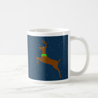 Leaping The Red Nose Reindeer Coffee Mug