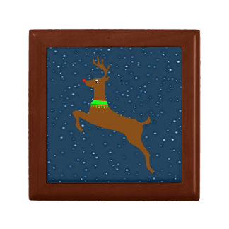 Leaping The Red Nose Reindeer Keepsake Box