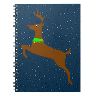 Leaping The Red Nose Reindeer Spiral Notebook