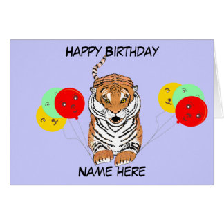 Leaping Tiger Birthday Card add name
