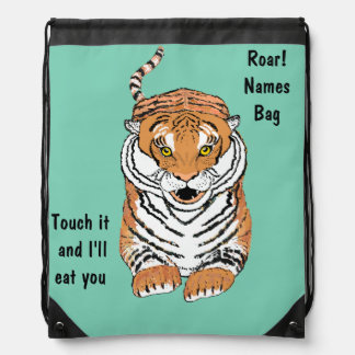 Leaping Tiger Drawstring Bags