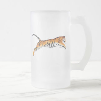 Leaping Tiger Frosted Glass Beer Mug