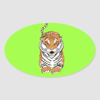 Leaping Tiger products Oval Sticker