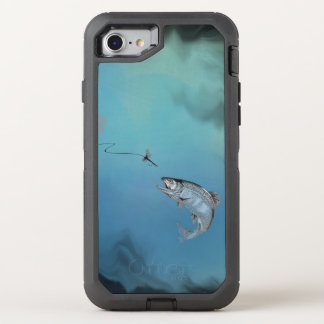 Leaping Trout Fly Fishing on watery blue backing OtterBox Defender iPhone 7 Case