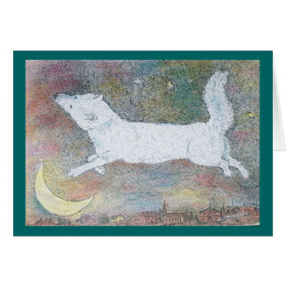 leaping wolf greeting card