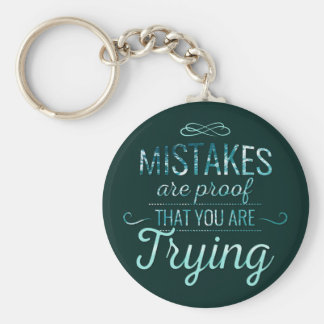 Learn from mistakes motivational typography quote keychain