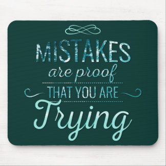 Learn from mistakes motivational typography quote mouse pad
